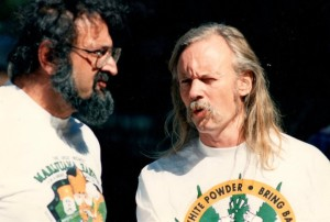 "Jack Herer and Dana Beal working together at the ""Great Midwest Marijuana Harvest Fest."""